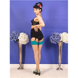 What Katie Did H2070 Retro Seamed Stockings Teal Glamour
