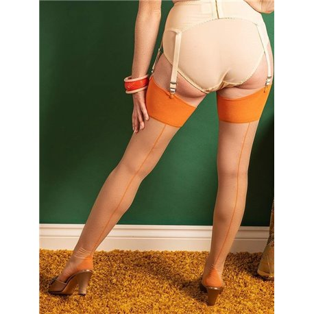 What Katie Did H2066 Retro Seamed Stockings Sky Glamour