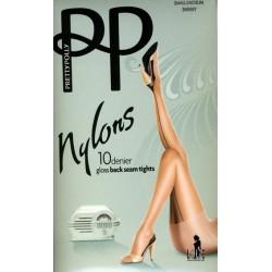 PRETTY POLLY Collant couture Nylons 10 deniers à talon cubain GLOSS