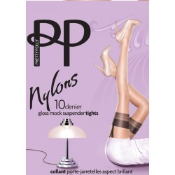 PRETTY POLLY Gloss 10 deniers NYLON GLOSS SUSPENDER Tights