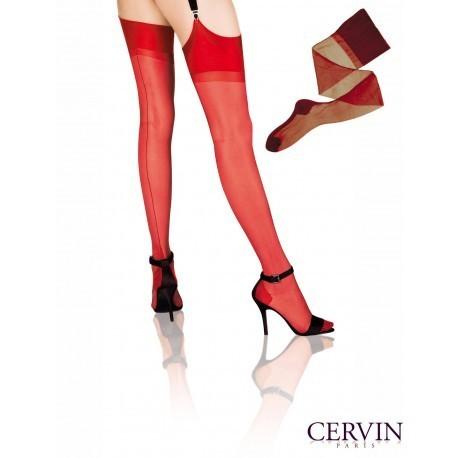 Bas couture Nylon CERVIN Seduction Couture rouge