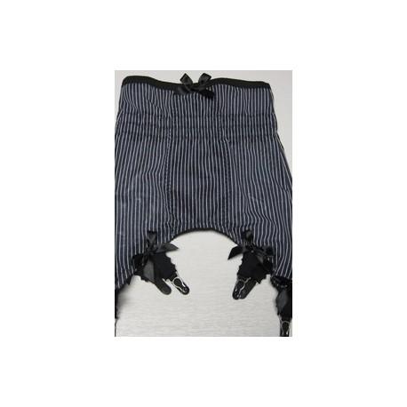 41a7a0101f8 Longline Black PINSTRIPE six strap girdle - LOLIE BELLE