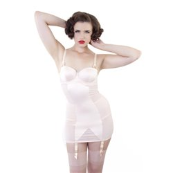 Corselette Bettie Page Curve Creator Shaping Slip  Peach  par Playful Promised