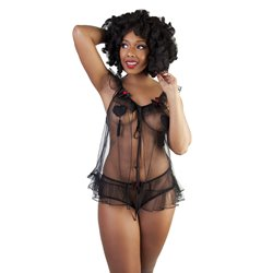 BP037/38 Bettie Page Tulle Babydoll + Brief
