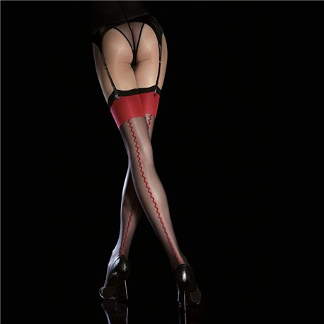 Sensuous patterned stockings with invisibly reinforced toe portion for elegance and covered elastane yarn for increased durabili