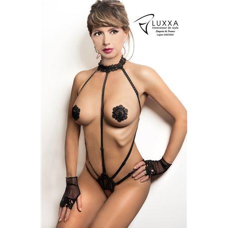 Luxxa Cachou Body  Harnais String Ouvert Noir