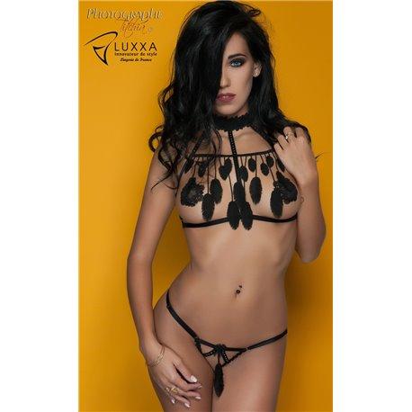 Luxxa Cachou Bra Cage with Feathers Black